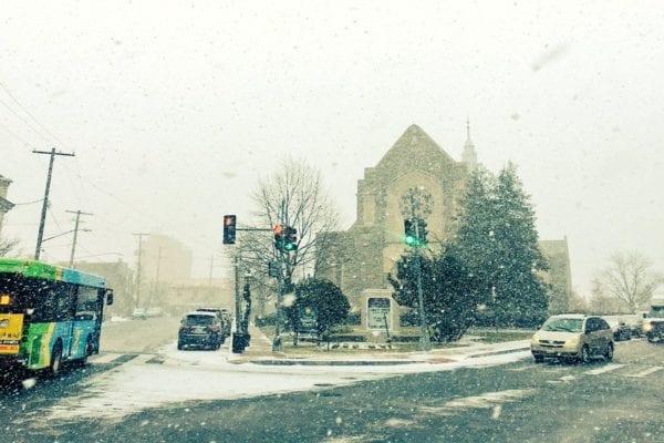 Snowy Winter Sabbath at Takoma Park Church in Maryland and Washington, DC.
