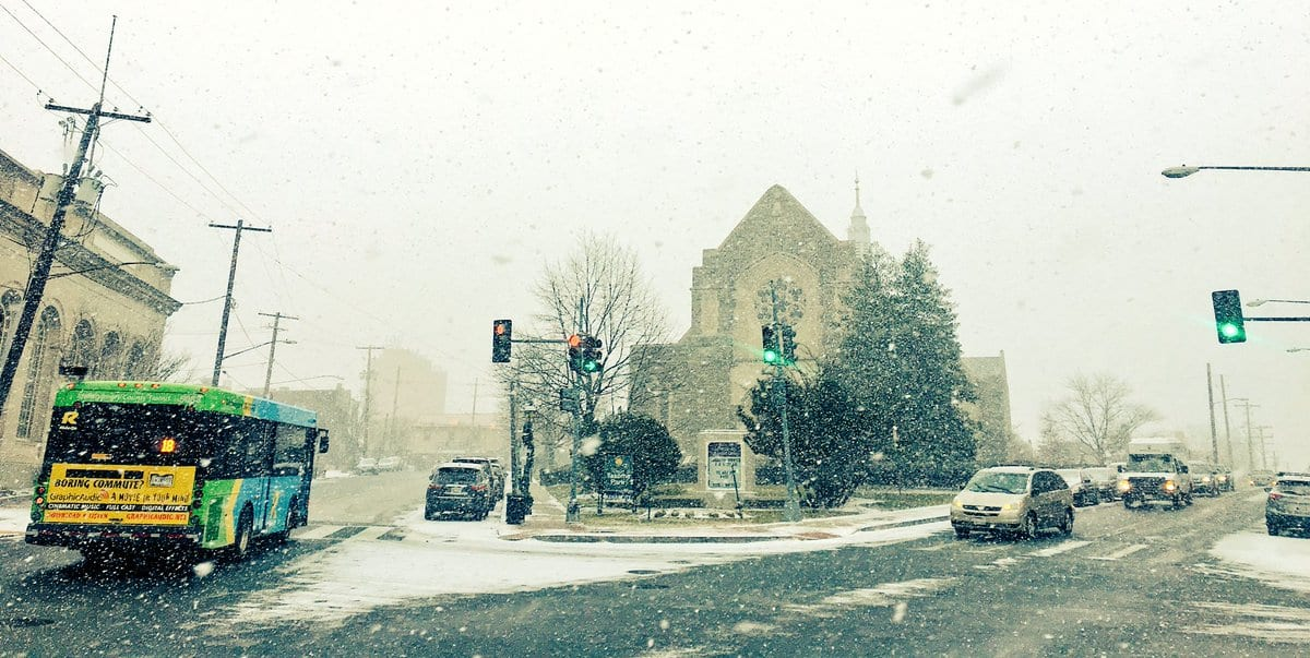 Snowy Winter Sabbath at Takoma Park Church in Maryland and Washington, DC.